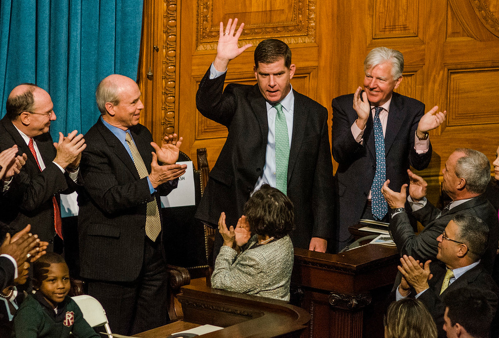 . Boston Mayor Marty Walsh is welcomed as the Massachusetts House of Representatives gathered for the 190th general court on Wednesday morning at the State House in Boston. SENTINEL & ENTERPRISE / Ashley Green
