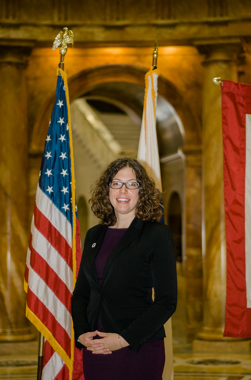 . Natalie Higgins at the State House in Boston on Wednesday morning for her inauguration as Leominster State Representative. SENTINEL & ENTERPRISE / Ashley Green