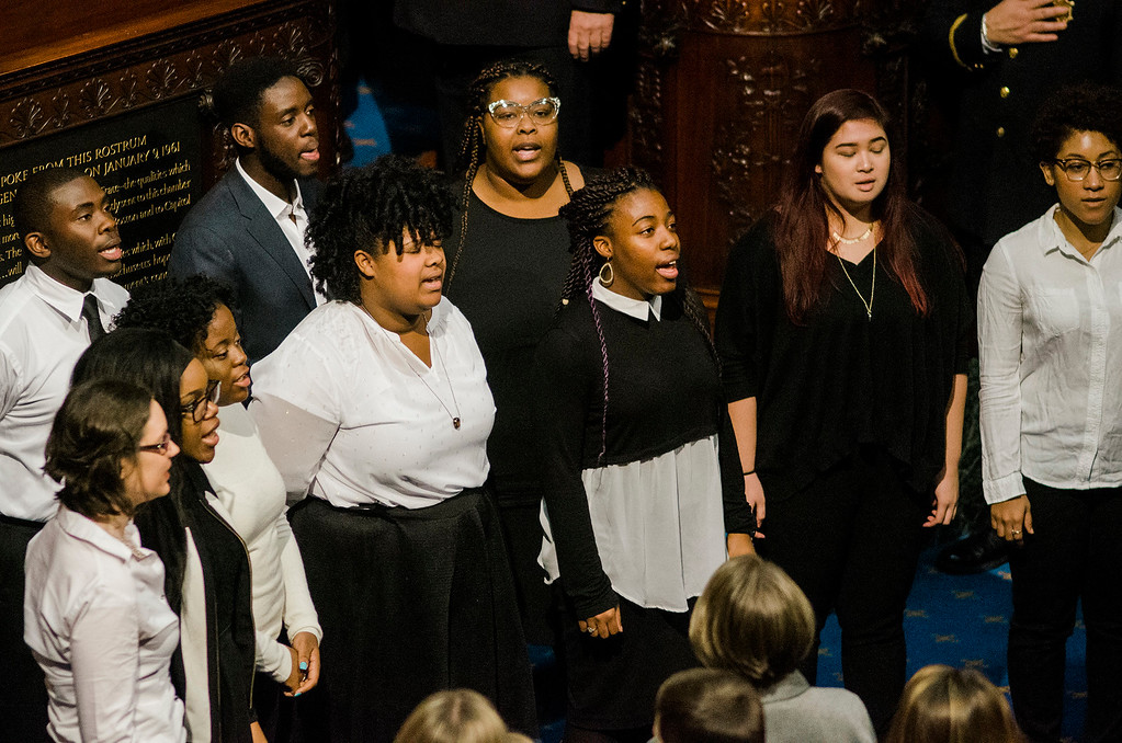 . The UMASS Lowell Gospel Choir sings the National Anthem as Massachusetts House of Representatives gathered for the 190th general court and swearing-in ceremony on Wednesday morning at the State House in Boston. SENTINEL & ENTERPRISE / Ashley Green