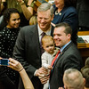 Gov. Charlie Baker enters the house chamber as the Massachusetts House of Representatives gathered for the 190th general court and swearing-in ceremony on Wednesday morning at the State House in Boston. SENTINEL & ENTERPRISE / Ashley Green