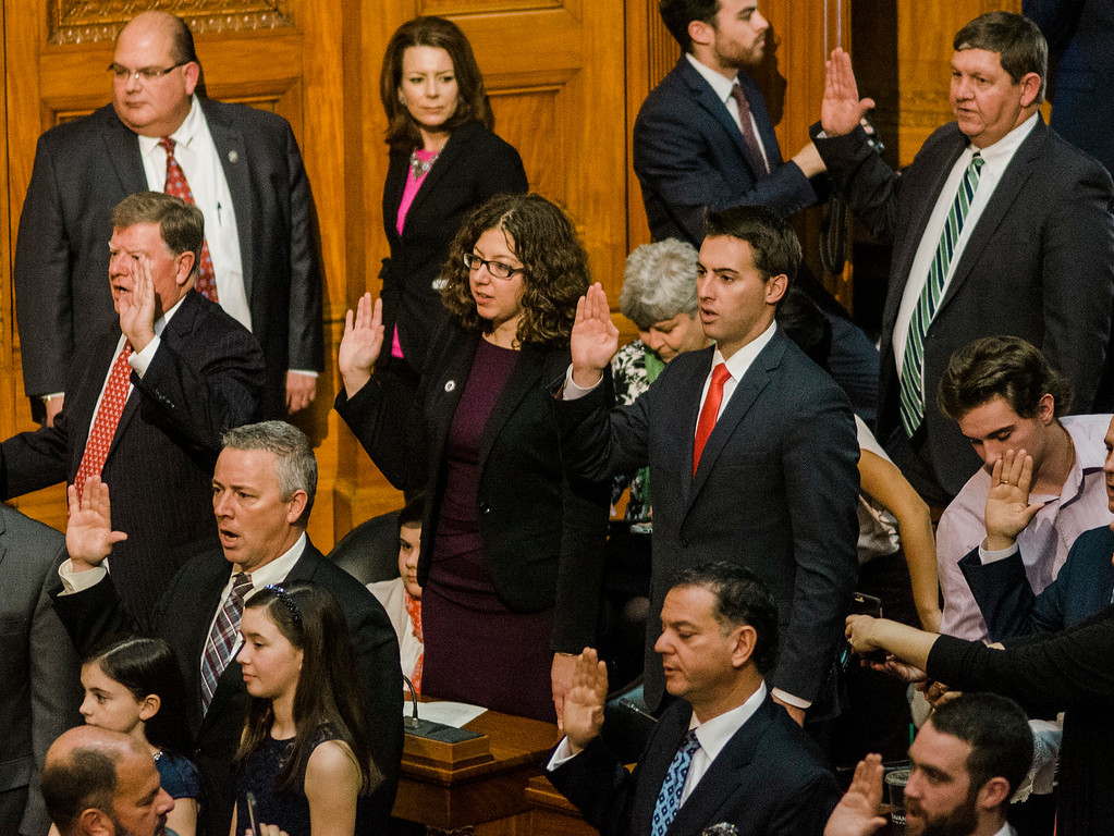 . Natalie Higgins stands to be sworn in as the new Leominster State Representative as the Massachusetts House of Representatives gathered for the 190th general court on Wednesday morning at the State House in Boston. SENTINEL & ENTERPRISE / Ashley Green