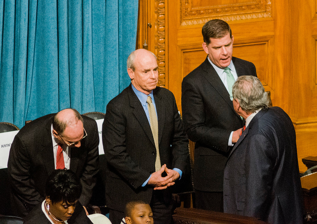 . Boston Mayor Marty Walsh greets other legislators as the Massachusetts House of Representatives gathered for the 190th general court and swearing-in ceremony on Wednesday morning at the State House in Boston. SENTINEL & ENTERPRISE / Ashley Green