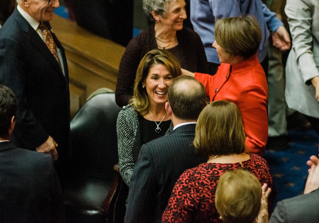 . Lt. Gov. Karyn Polito enters the house chamber as the Massachusetts House of Representatives gathered for the 190th general court and swearing-in ceremony on Wednesday morning at the State House in Boston. SENTINEL & ENTERPRISE / Ashley Green