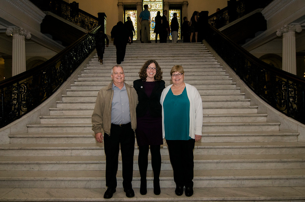 . Robert and Diane Higgins join their daughter Natalie Higgins at the State House in Boston on Wednesday morning for her inauguration as Leominster State Representative. SENTINEL & ENTERPRISE / Ashley Green