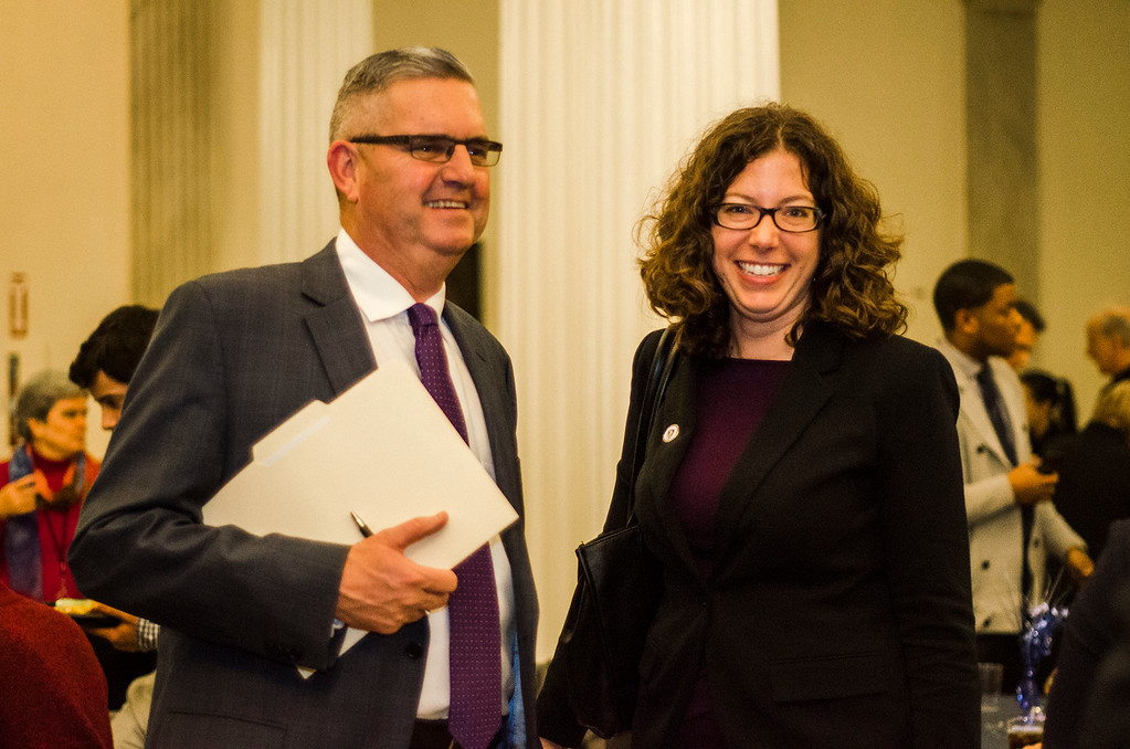 . Newly appointed Leominster State Rep. Natalie Higgins greets Fitchburg State Rep. Stephan Hay following the Massachusetts House of Representatives 190th general court and swearing-in ceremony on Wednesday morning at the State House in Boston. SENTINEL & ENTERPRISE / Ashley Green