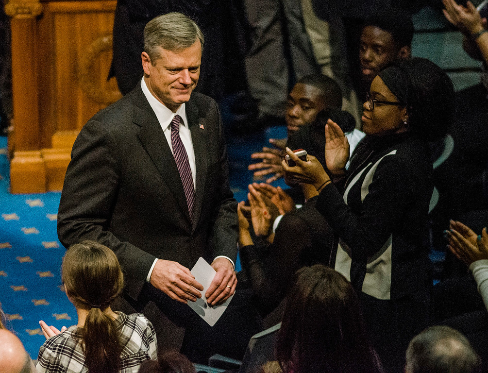 . Gov. Charlie Baker leaves the house chamber as the Massachusetts House of Representatives gathered for the 190th general court and swearing-in ceremony on Wednesday morning at the State House in Boston. SENTINEL & ENTERPRISE / Ashley Green