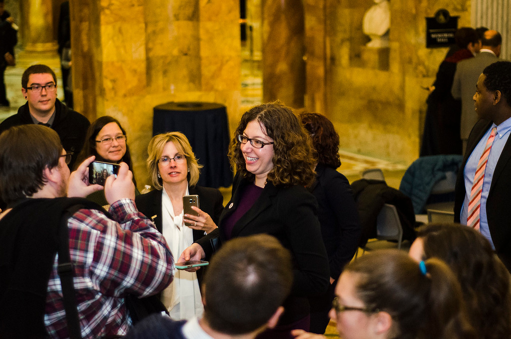 . Newly appointed Leominster State Rep. Natalie Higgins greets supporters following the Massachusetts House of Representatives 190th general court and swearing-in ceremony on Wednesday morning at the State House in Boston. SENTINEL & ENTERPRISE / Ashley Green