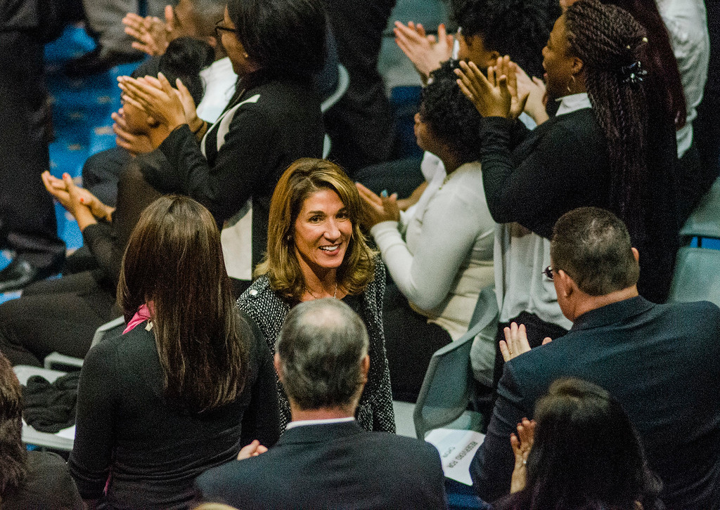 . Lt. Gov. Karyn Polito leaves the house chamber as the Massachusetts House of Representatives gathered for the 190th general court and swearing-in ceremony on Wednesday morning at the State House in Boston. SENTINEL & ENTERPRISE / Ashley Green
