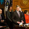 Gov. Charlie Baker gives his remarks as the Massachusetts House of Representatives gathered for the 190th general court and swearing-in ceremony on Wednesday morning at the State House in Boston. SENTINEL & ENTERPRISE / Ashley Green