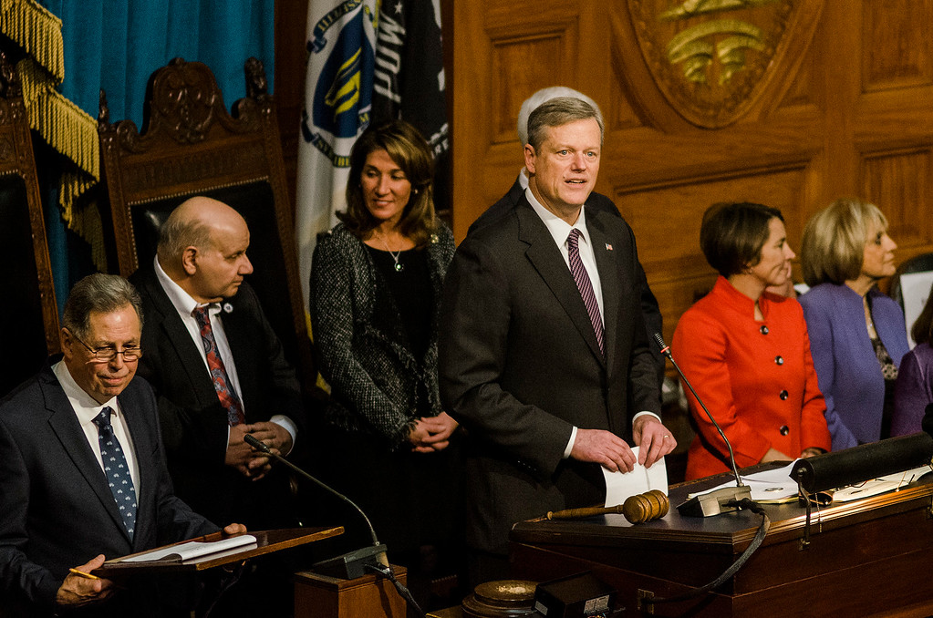 . Gov. Charlie Baker gives his remarks as the Massachusetts House of Representatives gathered for the 190th general court and swearing-in ceremony on Wednesday morning at the State House in Boston. SENTINEL & ENTERPRISE / Ashley Green