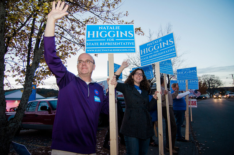 Congressman Jim McGovern campaigns with Natalie Higgins, Democratic candidate for State Representative in Leominster during Election Day on Tuesday. SENTINEL & ENTERPRISE / Ashley Green