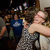 Natalie Higgins, winner of the Leominster State Representative race, is congratulated by Andrea Freeman at 435 Bar and Grille in Leominster after the polls close on Tuesday evening. SENTINEL & ENTERPRISE / Ashley Green