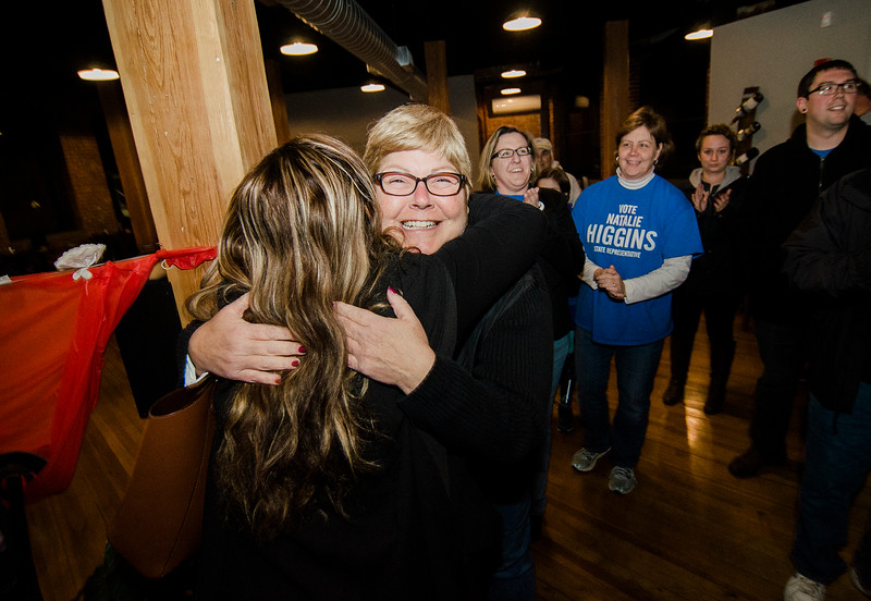 Diane Higgins, mother of Natalie Higgins, winner of the Leominster State Representative race, is congratulated by supporters at 435 Bar and Grille in Leominster after the polls close. SENTINEL & ENTERPRISE / Ashley Green