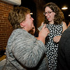 Natalie Higgins, winner of the Leominster State Representative race, is congratulated by Sandy Ellis at 435 Bar and Grille in Leominster after the polls close on Tuesday evening. SENTINEL & ENTERPRISE / Ashley Green