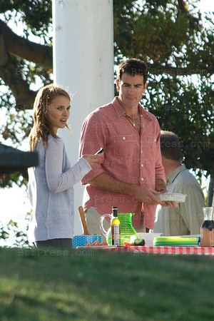 Natalie Portman Filming an Yvan Reitman project, co-star, Ashton Kutcher and Olivia Thirlby in Marina Del Rey,California on May 13,2010.