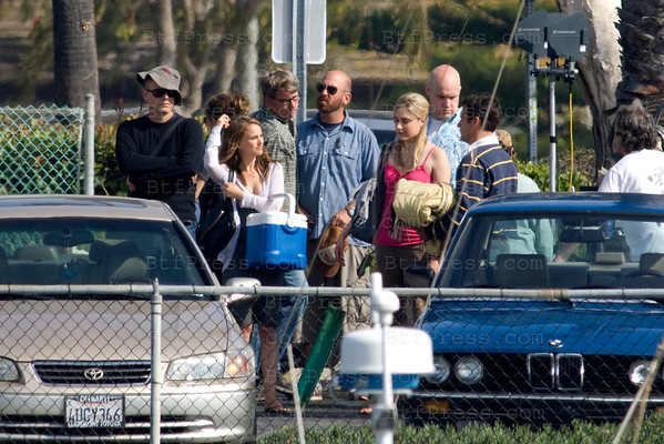 Natalie Portman and Ashton Kutcher filming in Marina Del Rey.