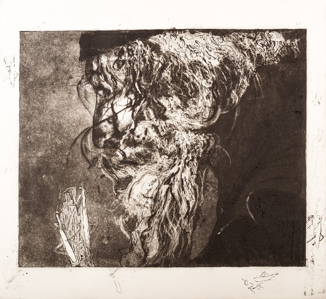 Bearded face - etching