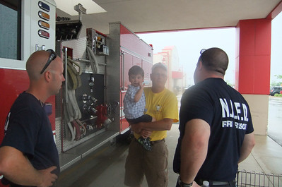 The fireman remember Nate from his visit to their firehouse!