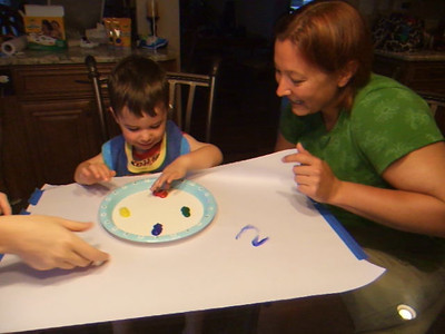 1st time to finger paint mommy and auntie robin are wonderful teachers
