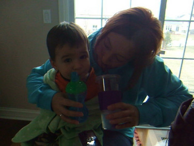 Nate and Aunt Ra Ra - drinking together!