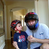 At first Nate did not like his helmet, so Daddy showed him how to wear one!