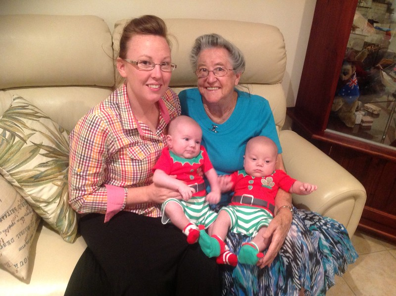 Twin boys .......Aunty Theresa holding Kyron and Great Nana Colleen holding Ajay