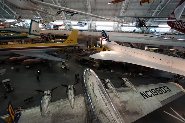 Panoramic View of Aircraft at Air and Space Museum