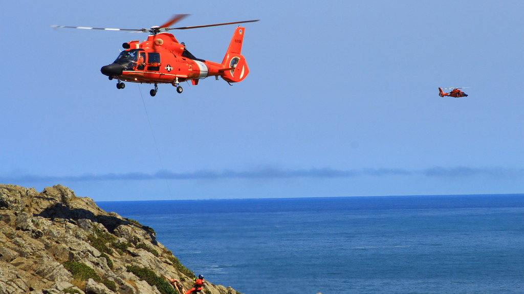 """. Two flight crews went out for what is called a \""""Vertical Surface Operation\"""" on Aug. 2. Pilots Matt Fetzner and Josh Forteza as well as pilots Kristopher Tamburello and Rocky Ward held the Humboldt Bay Sector Coast Guard helicopters steady they trained.  (Nick Bonner - Humboldt Bay Sector Coast Guard)"""