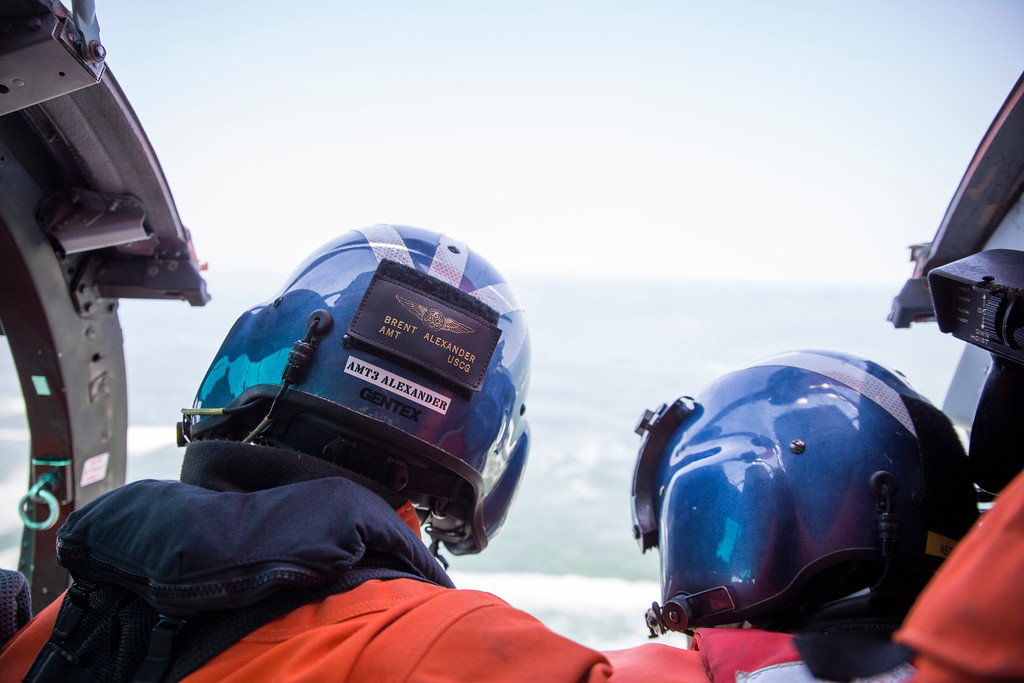 . Both Brent Alexander and Adam Carr look out over the horizon across the Pacific Ocean just off the coast of Patrick\'s Point.  (Sam Armanino - Times-Standard)