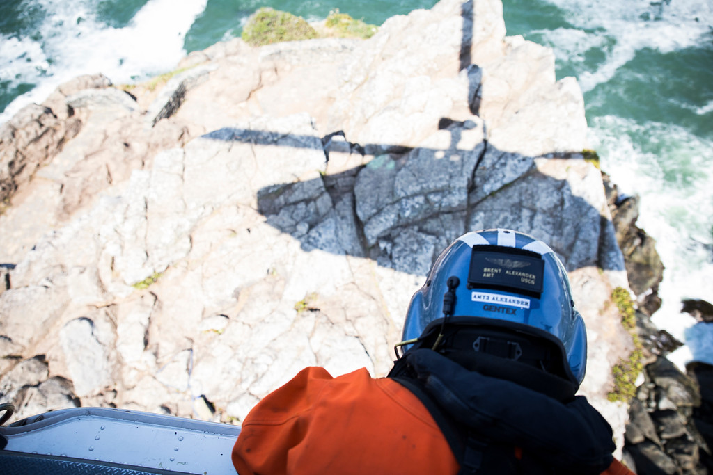 . The Humboldt Bay Sector Coast Guard trains everyday, but cliff rescue training happens almost every Wednesday. Aircraft Commander Lt. and Pilot Matt Fetzner said it\'s important for them to train everyday to prepare for the dark and stormy nights they fly out on.  (Sam Armanino - Times-Standard)