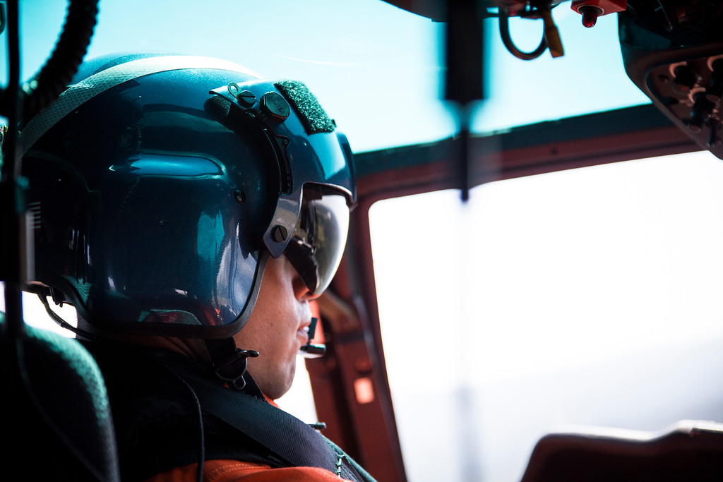 . Lt. Josh Forteza flies the helicopter back to the air station as the group assessed the three rescue hoists.  (Sam Armanino - Times-Standard)