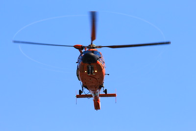 One of the Humboldt Bay Sector Coast Guard's helicopter flies above Patrick's Point on Wednesday, Aug. 2.  (Nick Bonner - Humboldt Bay Sector Coast Guard)