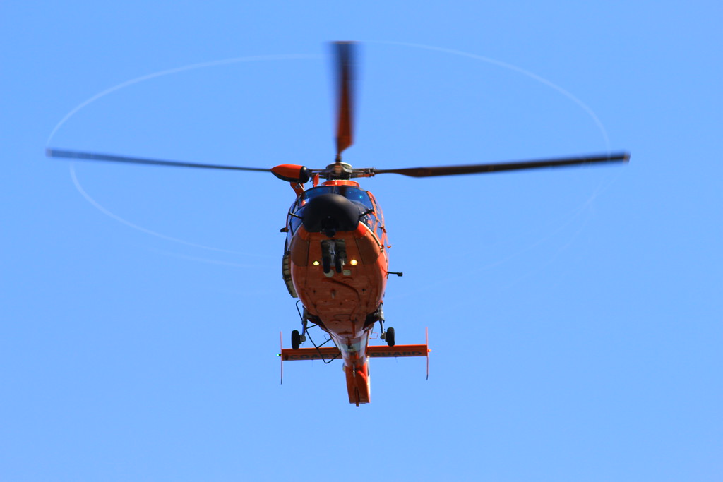 . One of the Humboldt Bay Sector Coast Guard\'s helicopter flies above Patrick\'s Point on Wednesday, Aug. 2.  (Nick Bonner - Humboldt Bay Sector Coast Guard)