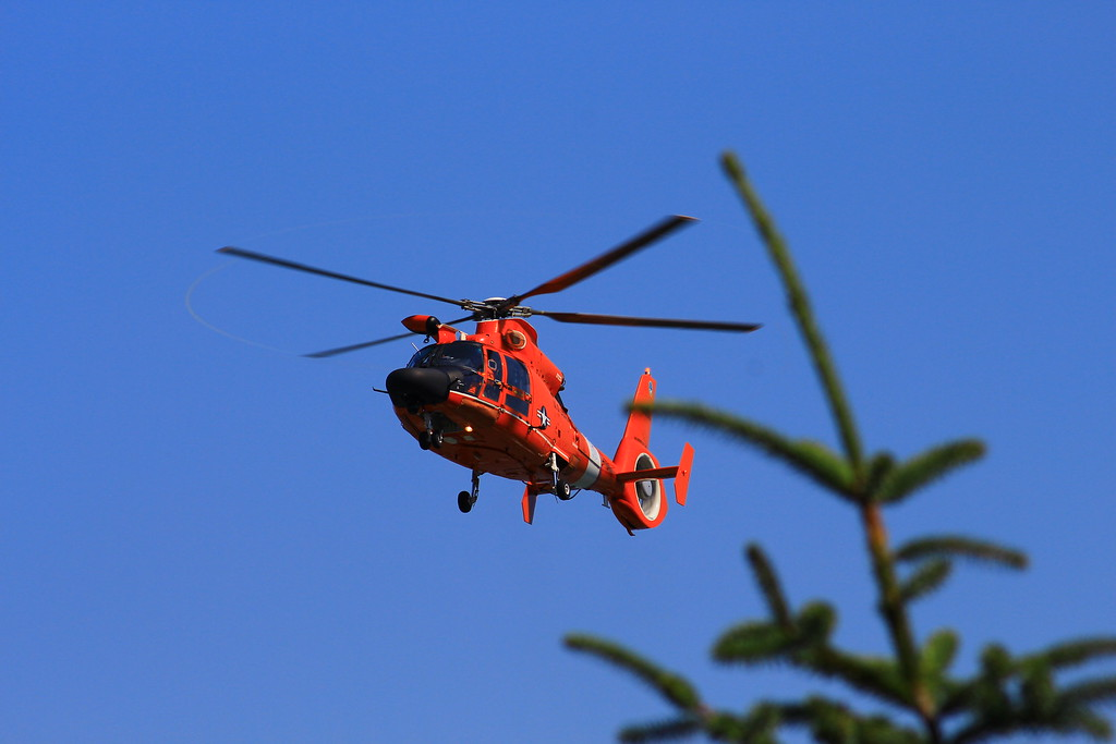 . The Humboldt Bay Sector Coast Guard has four orange Dolphin rescue helicopters that are flown and checked for maintenance everyday so they are ready to leave when they get the call.  (Nick Bonner - Humboldt Bay Sector Coast Guard)