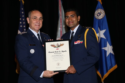 C/Col Abhishek Mogili receiving the General Carl A. Spaatz award. Photo by Susan Schneider, CAPNHQ