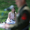 National Day of Prayer was held at Barrett Park on Thursday, May 4, 2017. Paytan Malboeuf from Gardner listen to speaker Marine CPL Randy Kay as he addresses the crowd at the event. SENTINEL & ENTERPRISE/JOHN LOVE