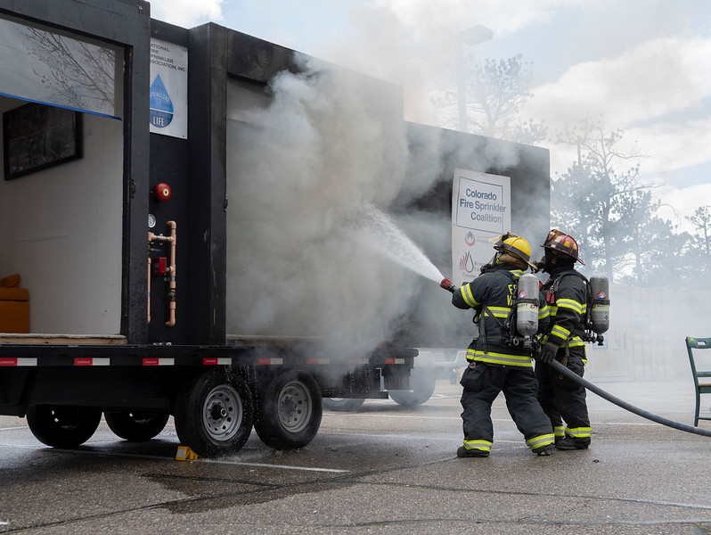 Estes Valley Firefighters put out a fire in a mock bedroom that did not have sprinklers.