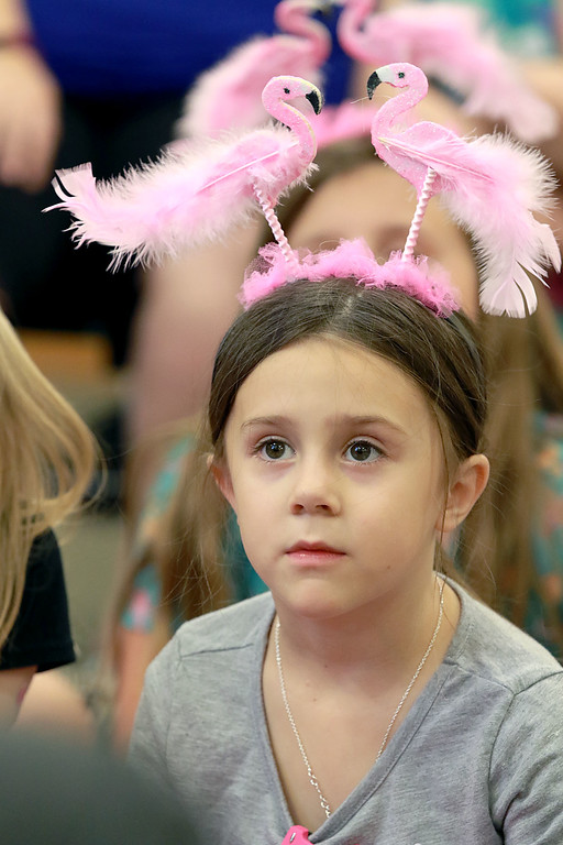 . Audrey Millward, 6, from Leominster listens to Leominster Mayor Dean Mazzarella read the book Sylvie by Jennifer Sattler to the children during the celebration of National Pink Flamingo Day at the Public Library on Friday afternoon. SENTINEL & ENTERPRISE/JOHN LOVE
