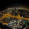 Birds-eye night view to Dubai