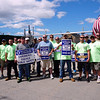 National Grid employees from United Steel Workers USW12012-04 Unioun block the gate on school street.  (The Sun / Chris Tierney)