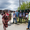 State Rep. Colleen Garry talks with National Grid employees from United Steel Workers USW12012-04 Unioun who are blocking the gate on School street.  (The Sun / Chris Tierney) (The Sun / Chris Tierney)