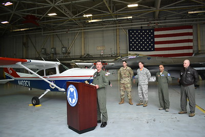 Together with its partners from the United States Air Force, the South Carolina Air National Guard, the Tennessee Air National Guard, and other NORAD agency representatives, Maj Ben Cole, CAP, addresses the press from a hangar at McEntire Joint National Guard Base.  Photo Credit: 1Lt Rachael J. Mercer