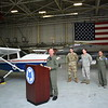 Together with its partners from the United States Air Force, the South Carolina Air National Guard, the Tennessee Air National Guard, and other NORAD agency representatives, Maj Ben Cole, CAP, addresses the press from a hangar at McEntire Joint National Guard Base. <br /> Photo Credit: 1Lt Rachael J. Mercer