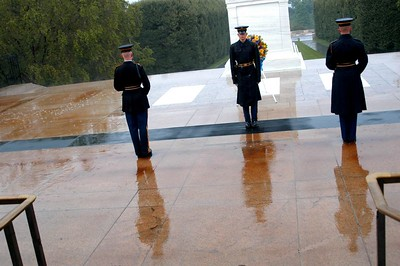 Changing of the guard in the rain