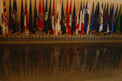 HALL OF FLAGS..REPRESENTING THE WOMEN FROM EACH STATE WHO HAVE SERVED IN THE ARMED FORCES