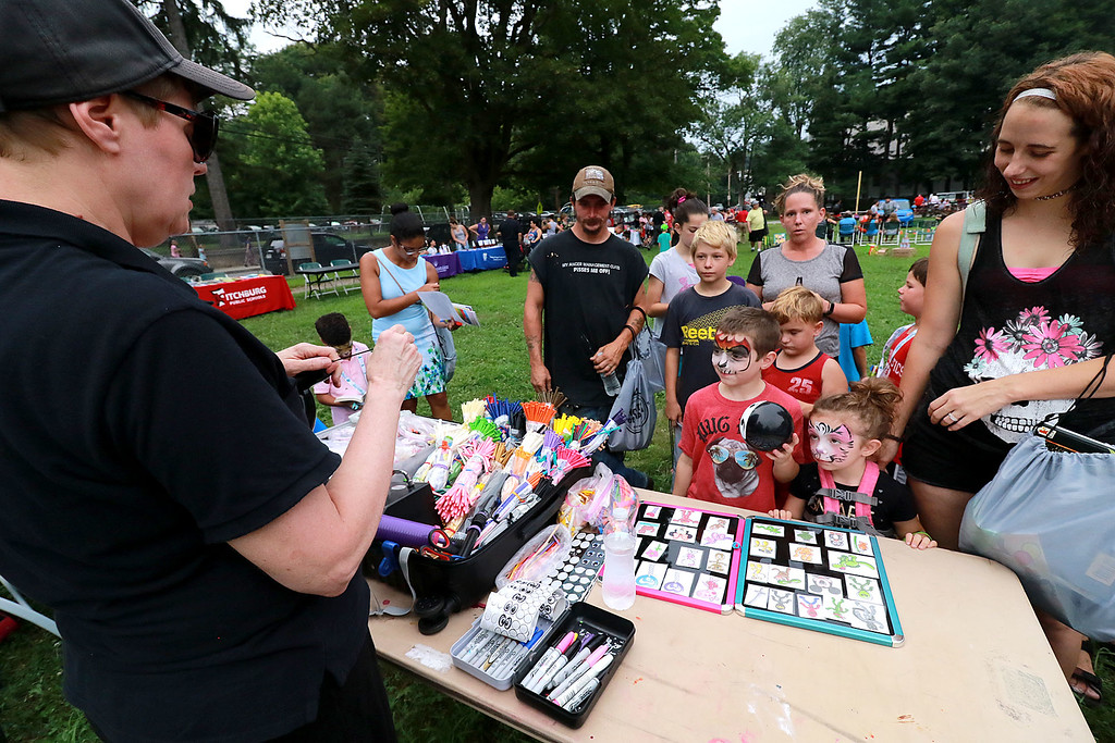 ". ""National Night Out\"" was held at Lowe Playground in Fitchburg on Tuesday night. Many wait in line to get a balloon creature from Ciel Riveras with Balloons by Ciel at the event. SENTINEL& ENTERPRISE/JOHN LOVE"
