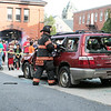 The Leominster Fire Department showed how they would rescue someone from a car when the doors won't open at the City's National Night Out on Tuesday, August 3, 2021. SENTINEL & ENTERPRISE/JOHN LOVE