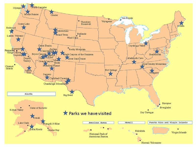 Map of National Parks - USA National Park Photography