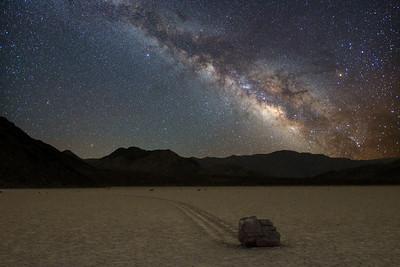 Racetrack rock under the Milky Way