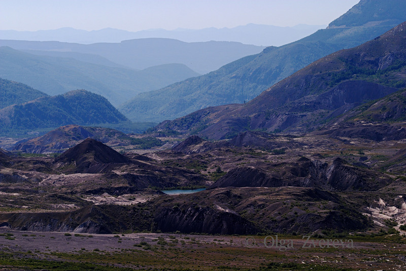 <p>Mount St. Helens Landscape as seen from the Windy Ridge Visitor Center</p> <p>Mount St Helens National Volcanic Monument, Washington, USA</p>